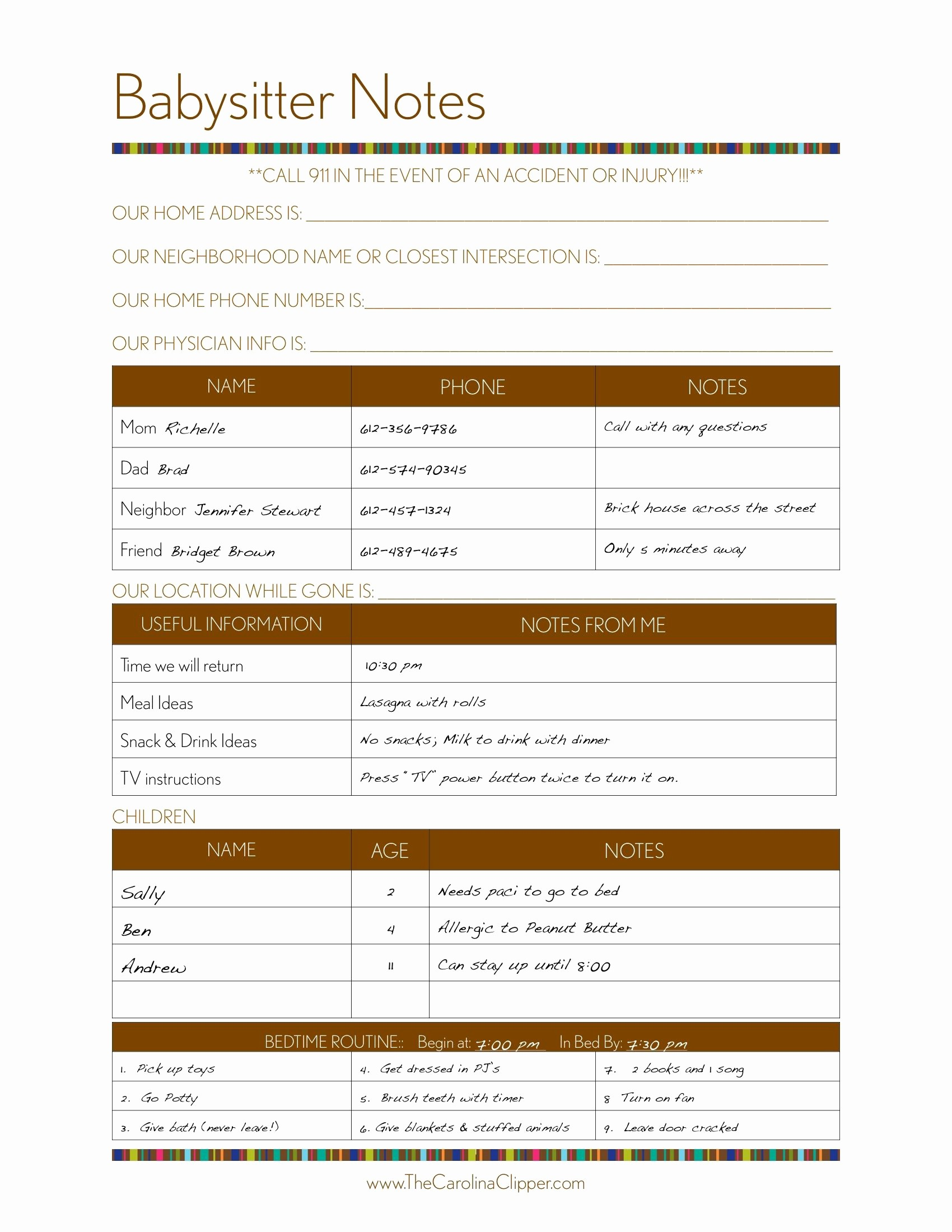 Emergency Contact Sheet for Nanny Fresh Make A Binder Of Emergency Contacts Pediatrician Etc for