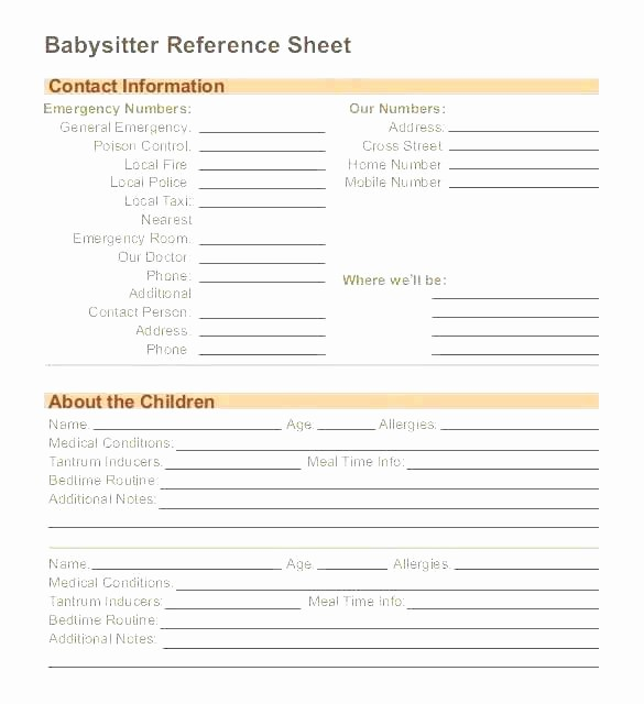 Emergency Contact Sheet for Nanny Inspirational Nanny Information Sheet Template Great Pay Stub Paycheck