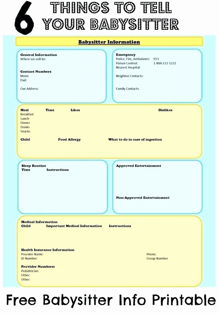 Emergency Contact Sheet for Nanny Luxury Babysitter Emergency Contact form Template Information