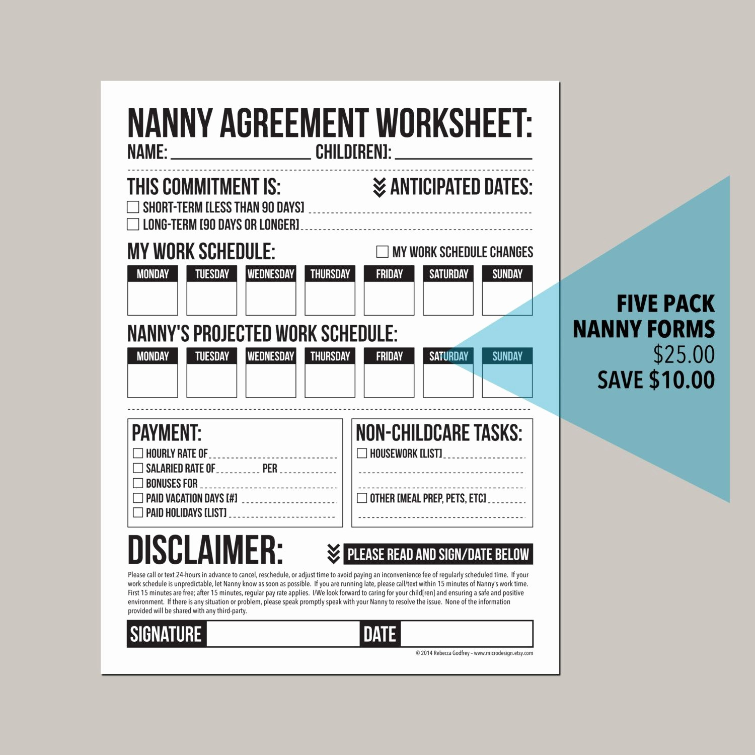 Emergency Contact Sheet for Nanny Luxury Save $10 by Purchasing Five Of My Most Popular Nanny forms