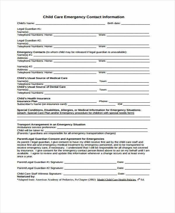Emergency Contact Sheet for Nanny New 26 Emergency Contact form In Pdf Free Documents In Pdf