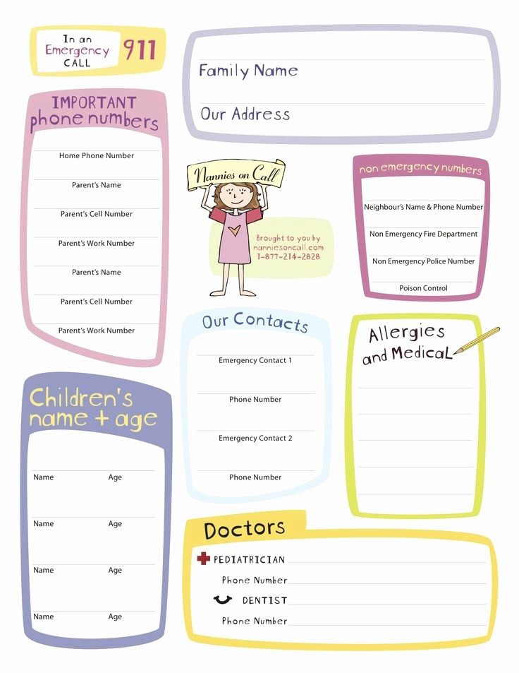 Emergency Contact Sheet for Nanny Unique Nannies On Call Emergency form Nanny Notes