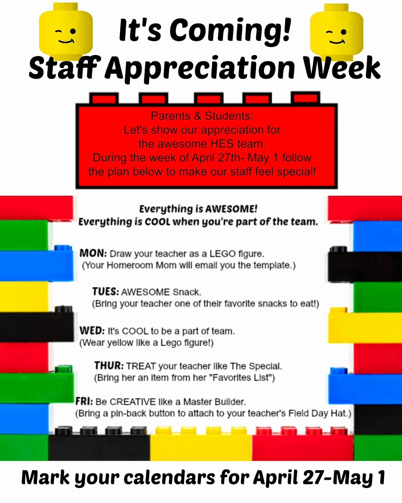 Employee Appreciation Day Flyer Template Awesome Crafty Texas Girls Staff Appreciation Lego theme