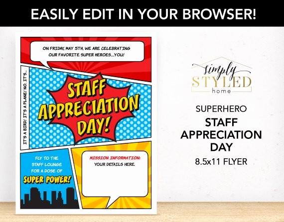 Employee Appreciation Day Flyer Template Luxury Editable Staff Appreciation Day Superhero Flyer Superhero