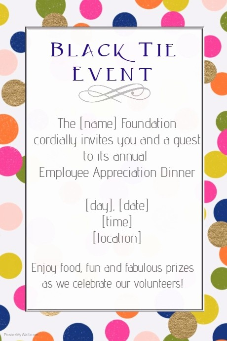 Employee Appreciation Day Flyer Template New Copy Of Black Tie formal event Dinner Employee