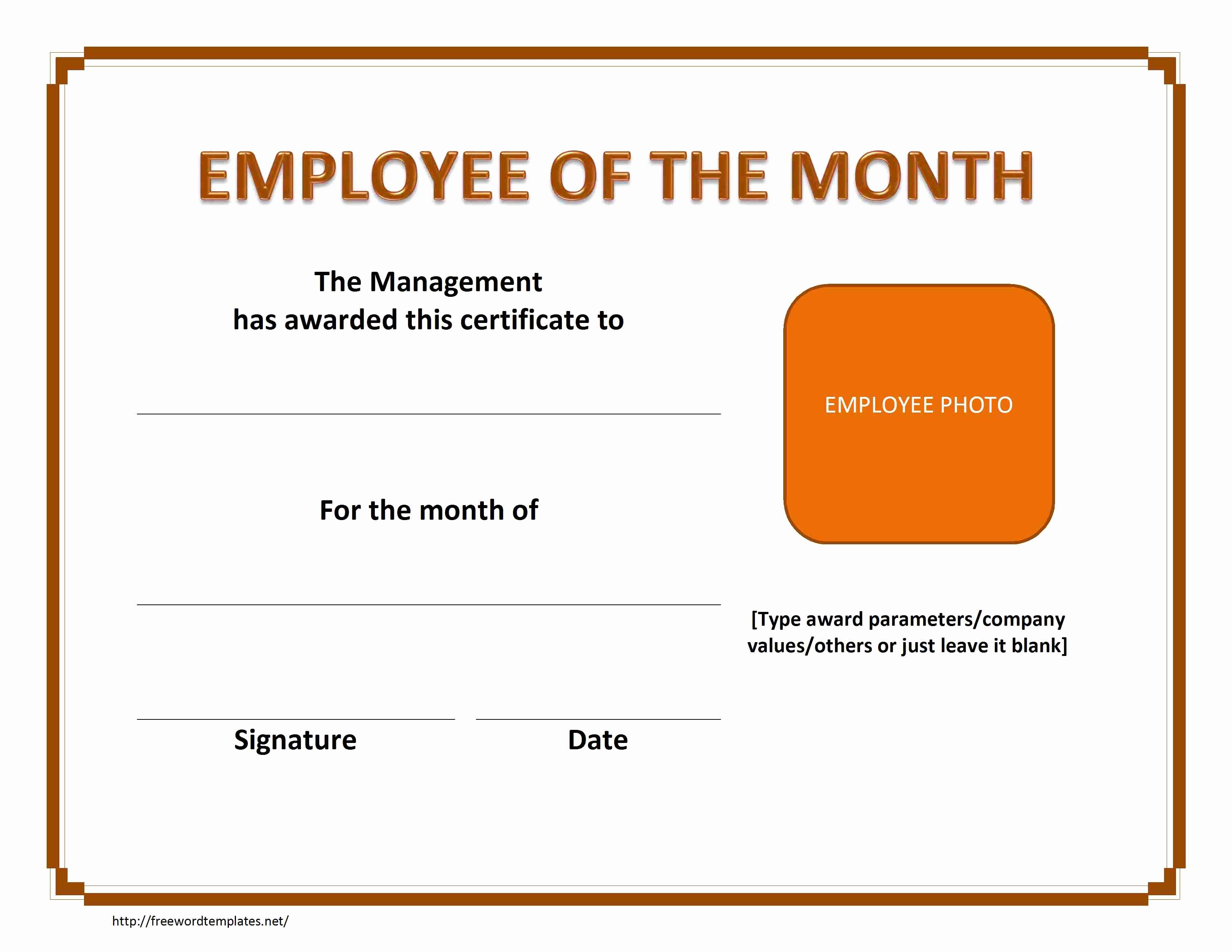 Employee Award Certificate Templates Free Awesome Employee Of the Month Certificate