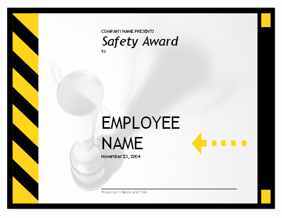 Employee Award Certificate Templates Free Awesome Employee Safety Award
