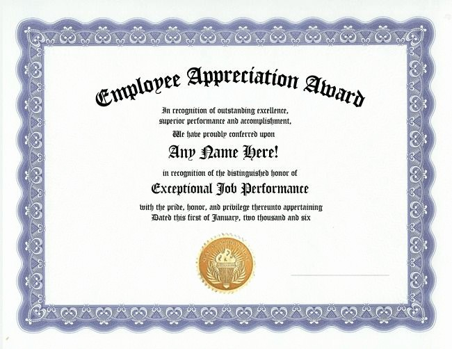 Employee Award Certificate Templates Free Beautiful Employee Appreciation Award Certificate Office Job Work