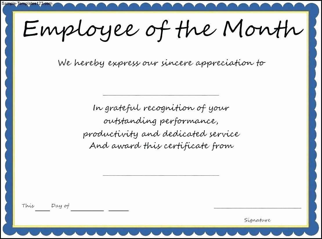 Employee Award Certificate Templates Free Beautiful Template Employee Recognition Award Template