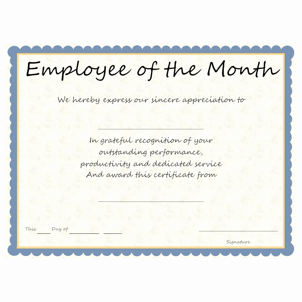 Employee Award Certificate Templates Free Fresh Employee Of the Month Award