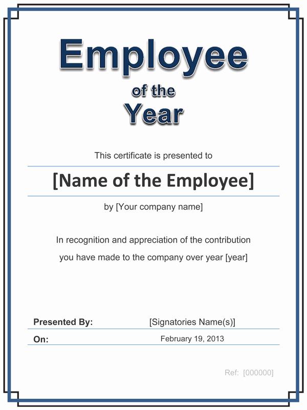 Employee Award Certificate Templates Free Fresh Employee Of the Year Certificate