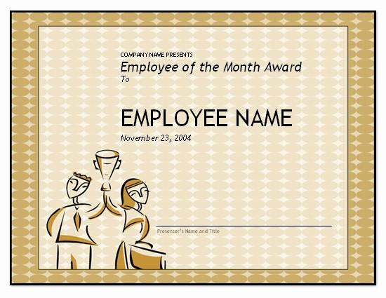 Employee Award Certificate Templates Free Inspirational Free Employee Of the Month Template for Employee