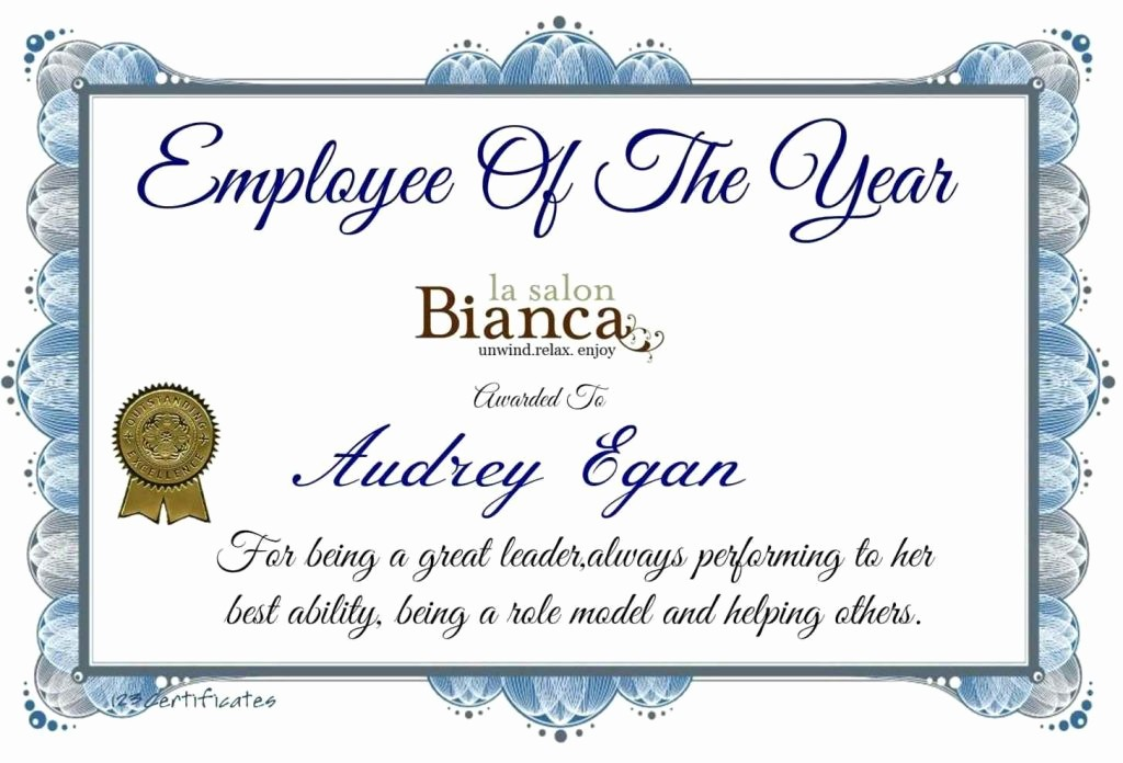 Employee Award Certificate Templates Free New Certificate Templates