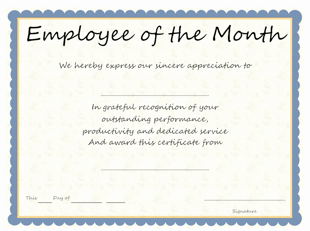 Employee Award Certificate Templates Free New Employee the Month Certificate Wording – Creative Advice