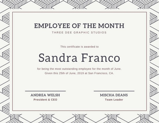Employee Award Certificates Templates Free Best Of Customize 1 508 Employee the Month Certificate