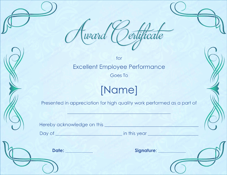 Employee Award Certificates Templates Free Best Of Excellent Employee Performance Award Certificate Template