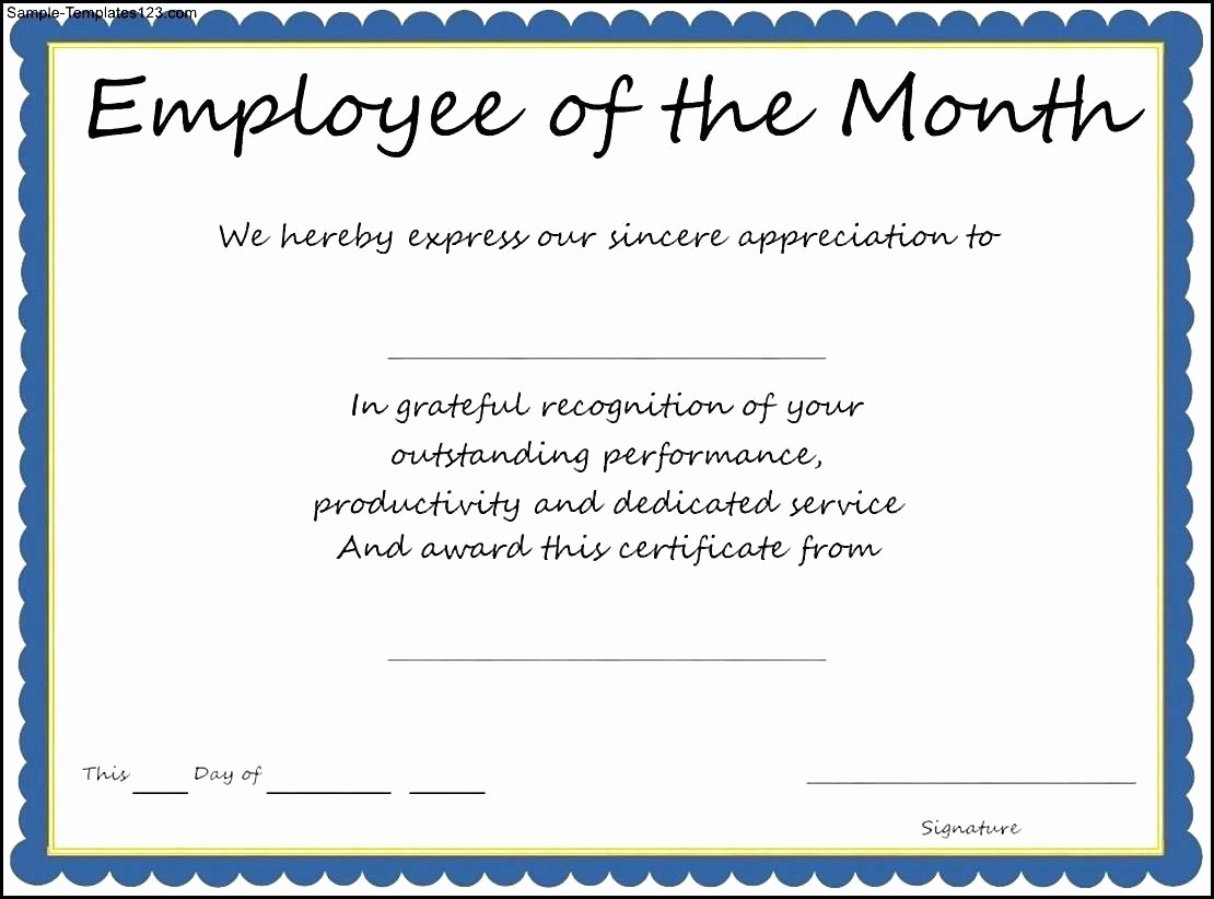 Employee Award Certificates Templates Free Best Of Template Employee Recognition Award Template