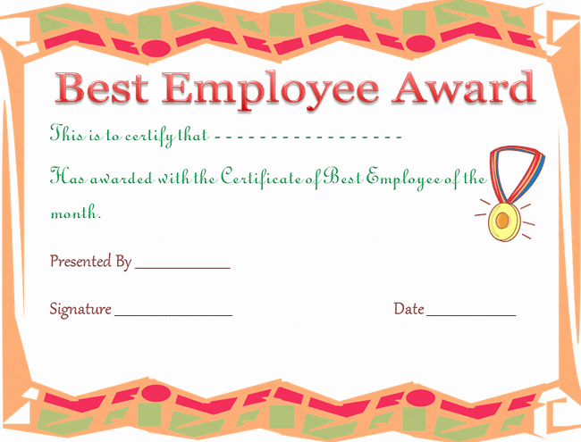 Employee Award Certificates Templates Free Elegant Best Employee Award Certificate Template