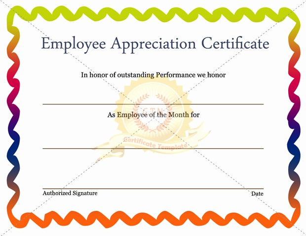 Employee Award Certificates Templates Free Elegant Free Editable Employee Appreciation Certificate Example