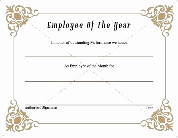 Employee Award Certificates Templates Free Fresh Employee the Month Certificate Template Award Free