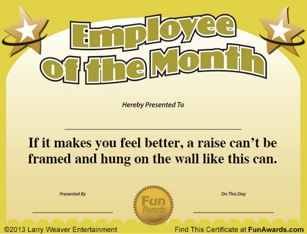 Employee Award Certificates Templates Free Fresh Funny Award Ideas