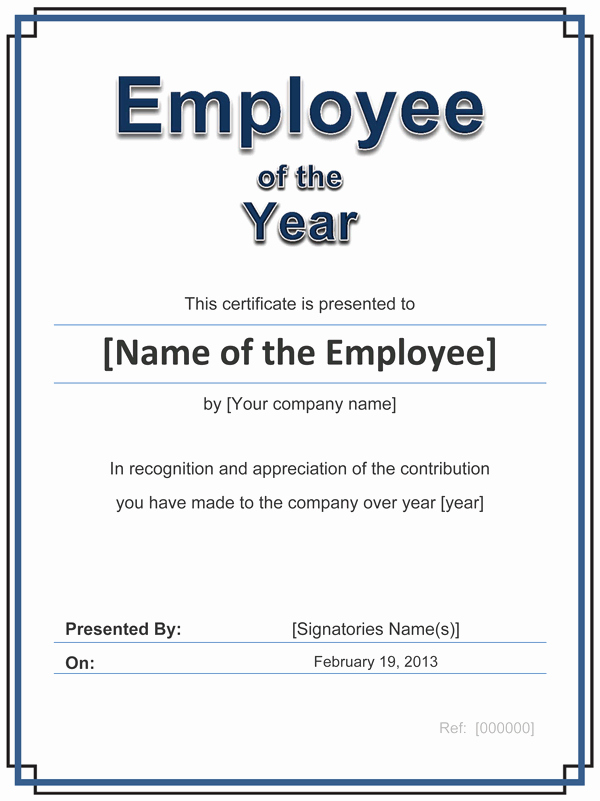 Employee Award Certificates Templates Free Inspirational Employee Of the Year Certificate