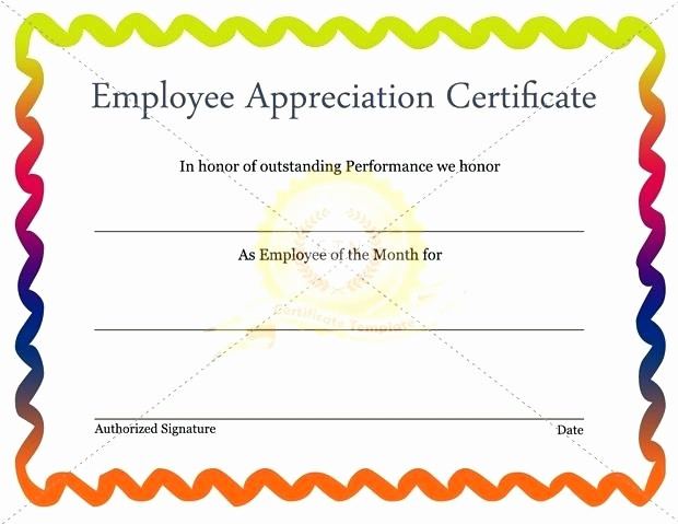 Employee Award Certificates Templates Free Inspirational Template for A Certificate Appreciation Best Employee