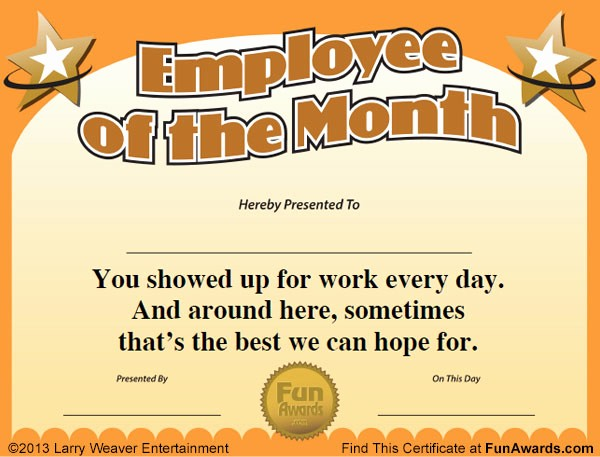 Employee Awards Certificates Templates Free Awesome Employee Of the Month Certificate Free Funny Award Template