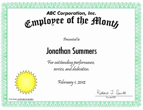 Employee Awards Certificates Templates Free Awesome Templates Design Employee the Month Certificate Template