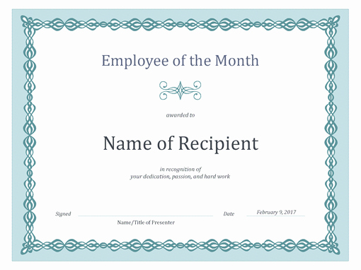 Employee Awards Certificates Templates Free Beautiful Certificate for Employee Of the Month Blue Chain Design