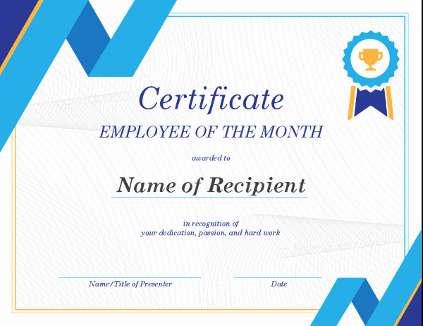 Employee Awards Certificates Templates Free Beautiful Employee Of the Month Certificate