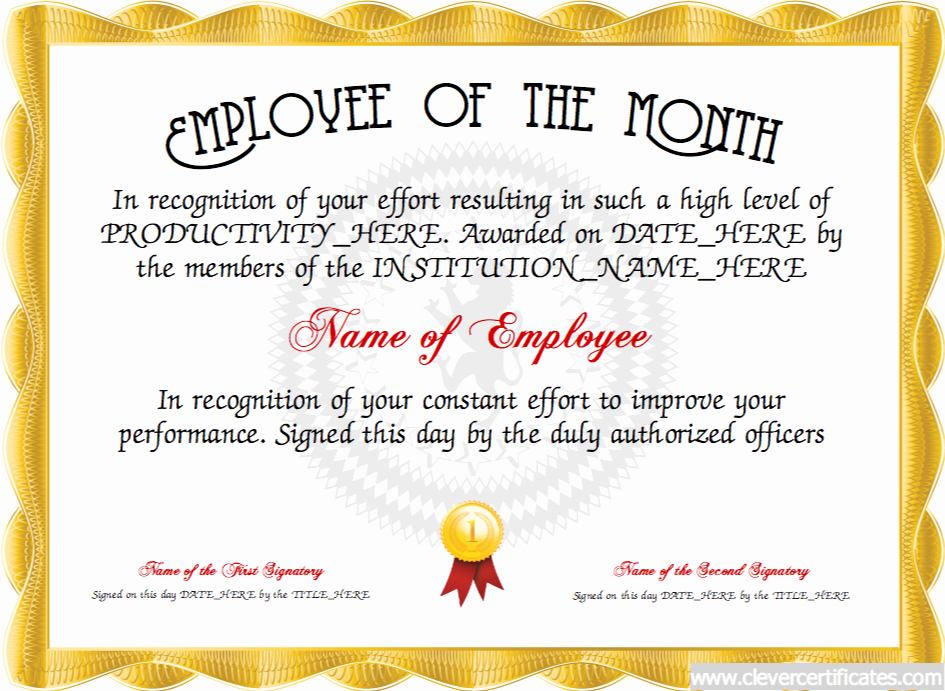 Employee Awards Certificates Templates Free Lovely Employee Of the Month Free Certificate Templates for
