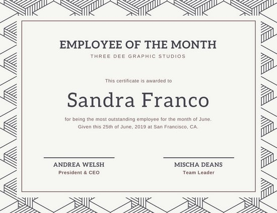 Employee Awards Certificates Templates Free Luxury Customize 1 508 Employee the Month Certificate
