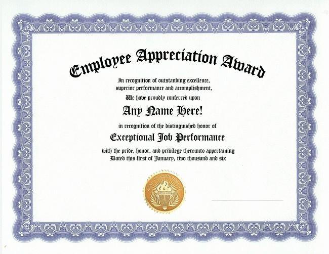 Employee Awards Certificates Templates Free Luxury Employee Appreciation Award Certificate Office Job Work