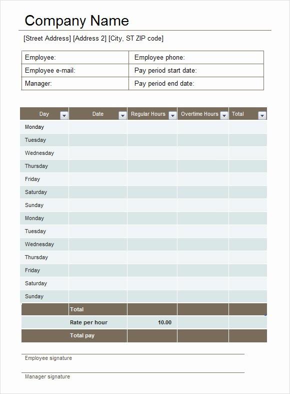 Employee Bi Weekly Timesheet Template Beautiful 19 Sample Excel Timesheets
