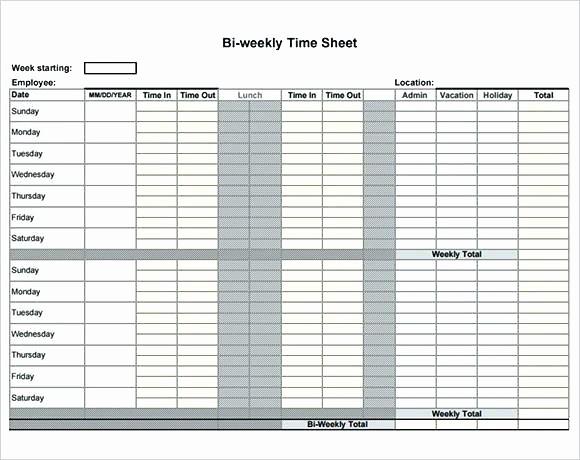 Employee Bi Weekly Timesheet Template Beautiful Bi Weekly Timesheet Template with Lunch Blank Biweekly In