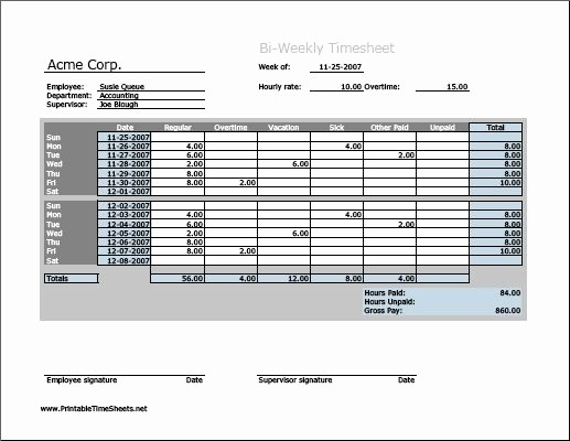 Employee Bi Weekly Timesheet Template Beautiful Biweekly Timesheet Horizontal orientation Work Hours