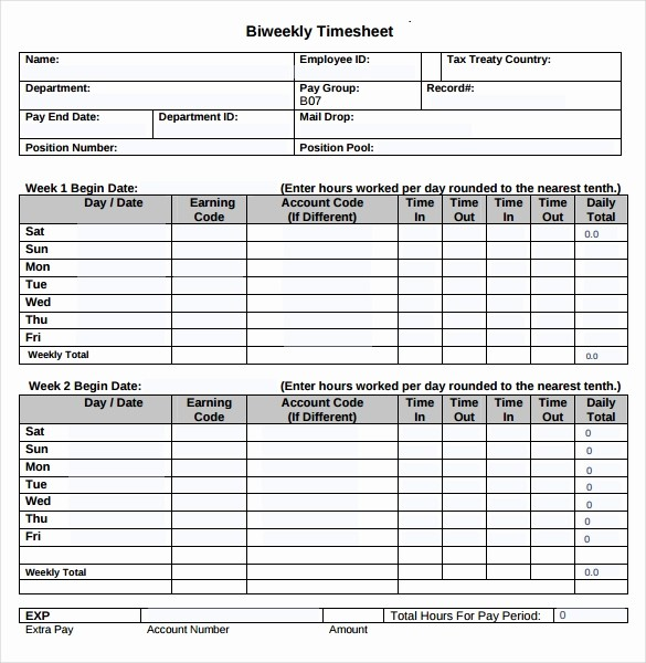 Employee Bi Weekly Timesheet Template Elegant 22 Employee Timesheet Templates – Free Sample Example