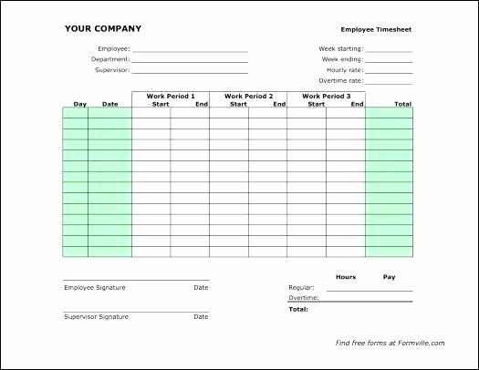Employee Bi Weekly Timesheet Template Inspirational Bi Weekly Template Excel Biweekly Timesheet Free