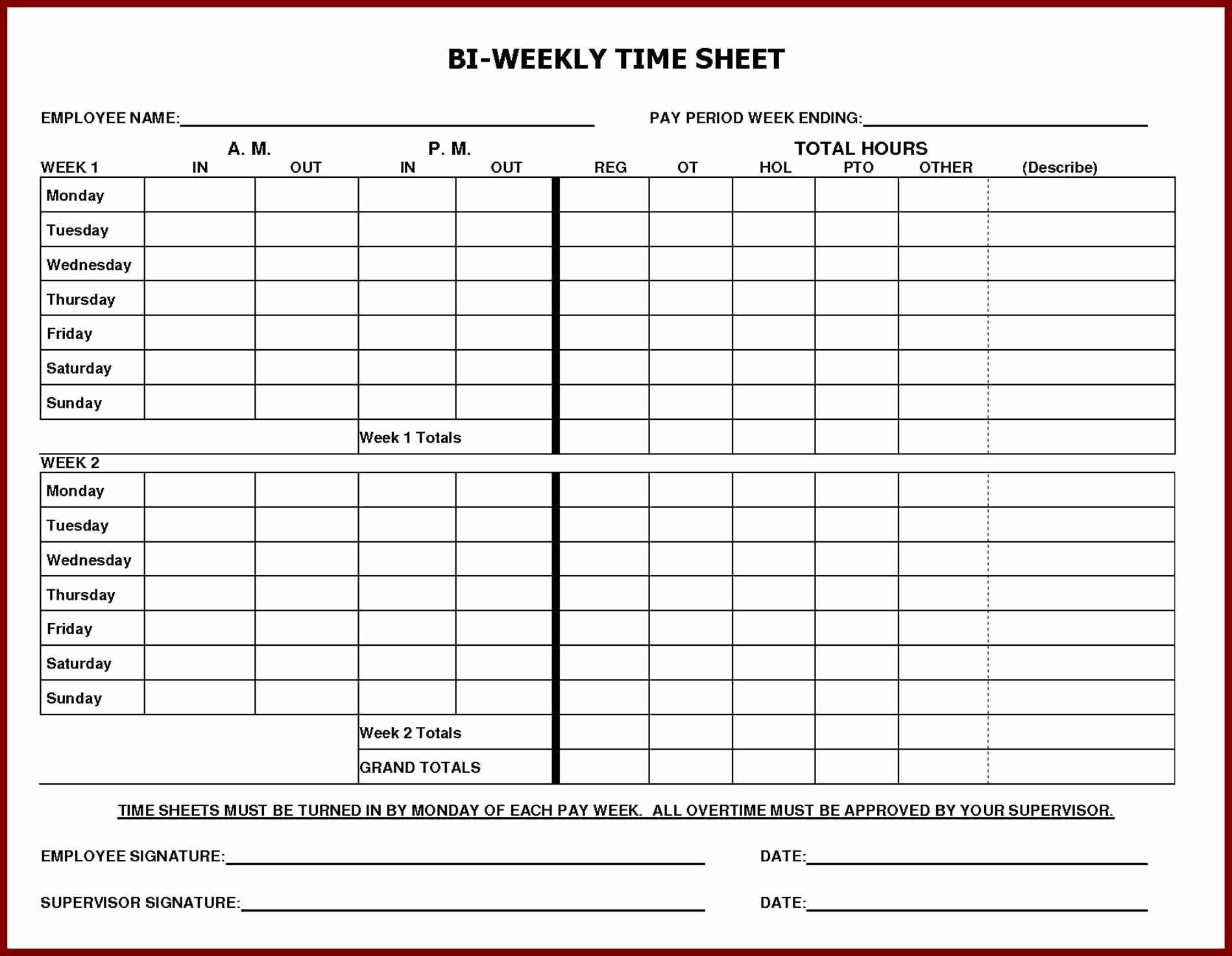Employee Bi Weekly Timesheet Template Inspirational Daily Time Sheet Printable Printable 360 Degree