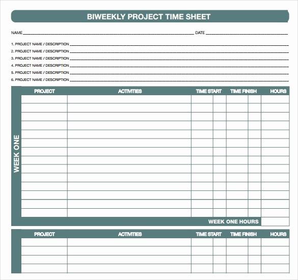 Employee Bi Weekly Timesheet Template Lovely 18 Bi Weekly Timesheet Templates – Free Sample Example