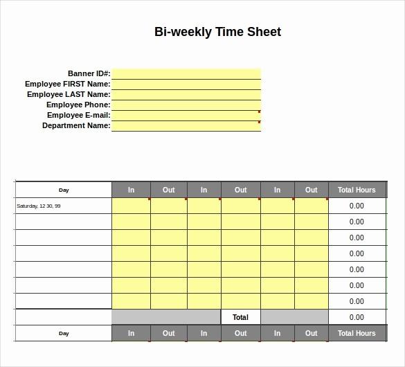 Employee Bi Weekly Timesheet Template Luxury 25 Excel Timesheet Templates – Free Sample Example