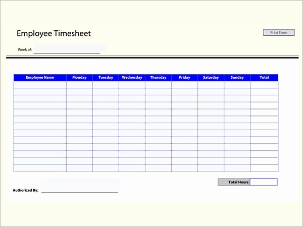 Employee Bi Weekly Timesheet Template Unique Time Card Excel Template Free Free Excel