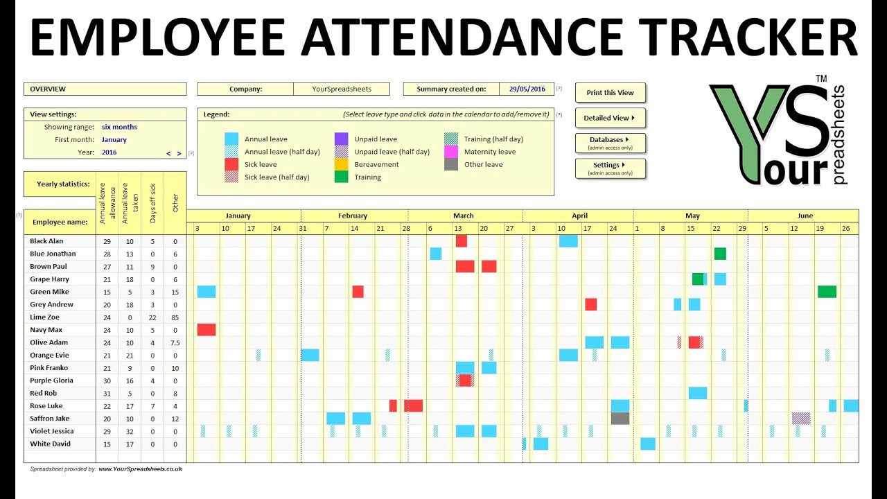 Employee Call Off Log Template Best Of Employee attendance Tracker Spreadsheet