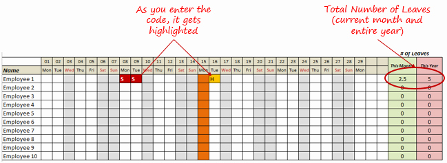 Employee Call Off Log Template Best Of Leave Tracker Excel Template 2016