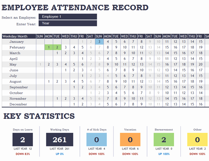 Employee Call Off Log Template Elegant 25 Printable attendance Sheet Templates [excel Word