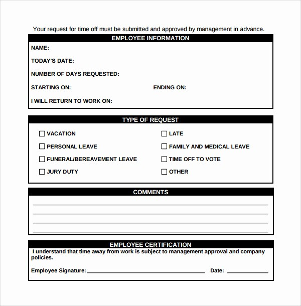 Employee Call Off Log Template Elegant Printable Doc Employee Time F Request form