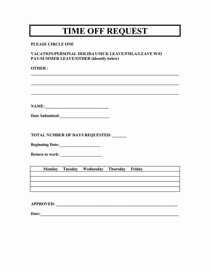 Employee Call Off Log Template Luxury Vacation Request forms 2014 Free Printable