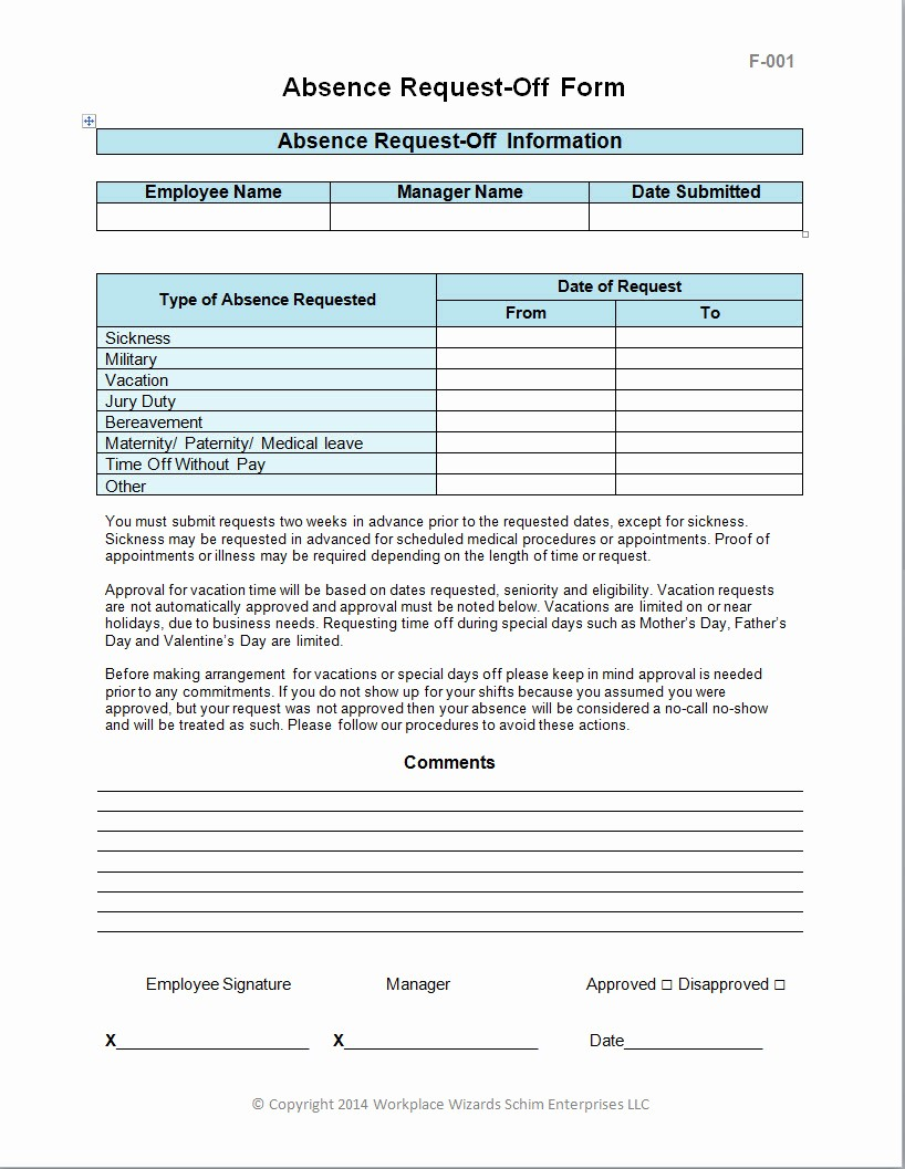 Employee Call Off Log Template Unique Employee Request F form Workplace Wizards Restaurant