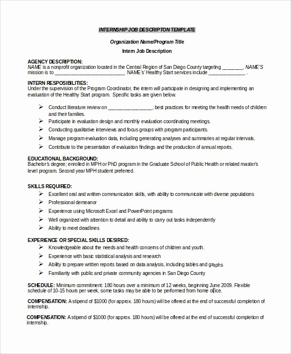 Employee Duties and Responsibilities Template Awesome 33 Job Description Templates
